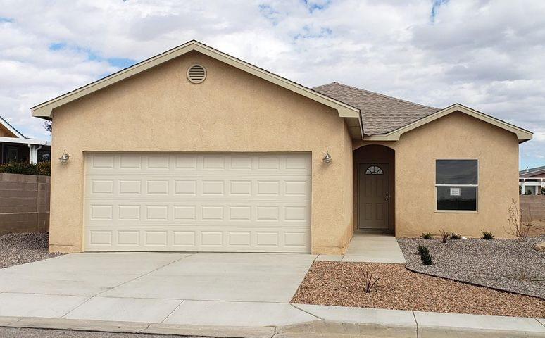 Come see Mile High Homes' new floor plan - The Brittonie - recently completed in the gated, 55+ community of Sunrise Bluffs.  Features include a bright great room, study off the main living area, split floor plan, designer tile accents and finished garage. The efficient kitchen offers lots of counter top space, custom cabinetry, as well as an island and bar where you can catch a glimpse of the Manzanos and the bright blue NM sky through the perfectly placed picture windows.  Aside from the spectacular views and serene nature of the area, the community also features a clubhouse, indoor swimming pool, gym, billiards/dart room and entertainment/activities scheduled throughout the week.  Several lots and floor plans are available.