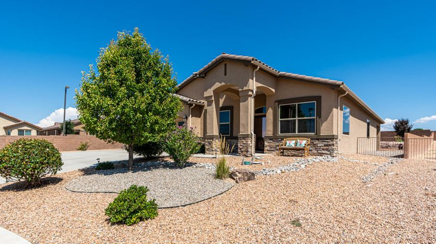 You must see this stunning 3 bed 2 bath home in desired Cabezon community. LARGE, premium Cul-de-sac lot with huge landscaped back yard. Best part about the back yard is the Family room has over sized glass doors that open up to the large covered patio, allowing the outside to be part of your living space . You may also enjoy the custom water fountain, and gas stub-out in back patio.  Did I mention apple trees and pear trees? Inside the home features an open floor plan with beautiful kitchen features to include: granite, custom back splash and hardware, stainless steel appliances, large pantry, and deep double sink. Living room has built in surround sound that extends to the kitchen and the master.  There is a built in security system and all doors and windows have security sensors.