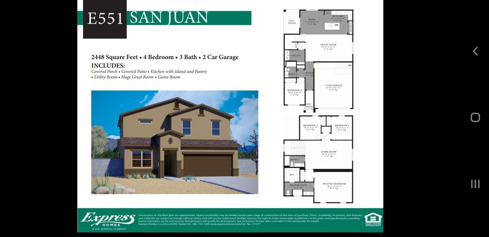 Beautiful open and bright San Juan offers Covered Porch, Covered Patio, Kitchen with Island and Pantry, Utility Room, Huge Great Room and  Game Room. Bedroom downstairs is right next to a full size bathroom. It is perfect for and In-Law quarters. Please contact us to view this and other floor plans in our Solcito Community today!