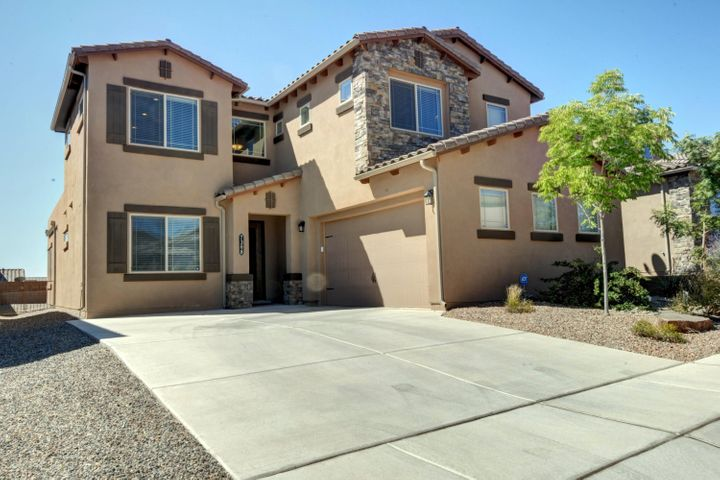 Amazing DR Horton home in the highly sought after Valle Prado subdivision!! This property showcases a large open floor plan with superior craftsmanship and attention to fine detail. Chef kitchen boasts granite counter tops, center island, tile backsplash and stainless appliances. Features both main level and upper level Master Suites!! 5 Bedrooms/4Bathrooms!! Private loft! Floor to ceiling custom patio doors open the living room to the tastefully landscaped back yard, perfect stage for entertaining.  Close proximity to parks, walking trails and amenities. Silver rated green home! Volcano Vista school district! Truly Turn Key! Call a Realtor today to schedule a private showing!