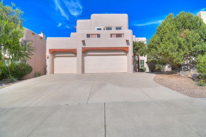 Welcome Home to Prestigious High Desert!  This 4 bedroom 3 bath home exudes PRIDE of Ownership..Enter into the light and bright living room with clerestory window and lots of natural light. Enjoy the family room with a cozy Kiva and the open kitchen with BRAND New Oven, Fridge, dishwasher and microwave. The 4th Bedroom is downstairs with a full bath.  Upstairs boosts a nice size loft and three bedrooms with 2 balconies to enjoy the views! o 2. All of the Capital items have been done. NEW TPO roof, NEW STUCCO, NEW WINDOWS, Bamboo flooring, Freshly Painted and NO CARPET!  Over $126K in replacements/upgrades Garden like back yard with lots of trees, lawn and garden area as well.  Please see the property specifics for a list of enhancements.  Come see this lovely home in High Desert TODAY!