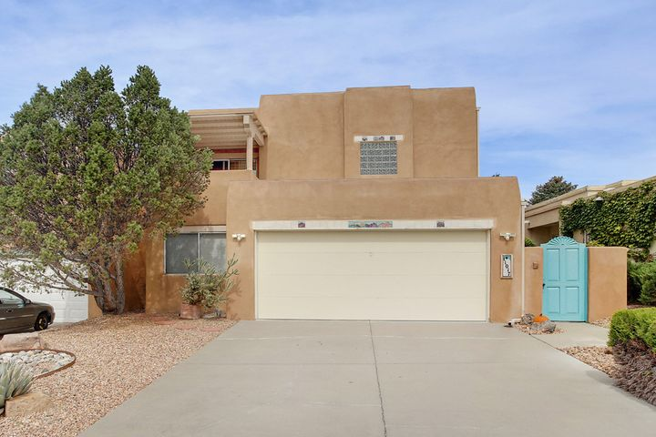 Gorgeous, extremely well maintained 3BR, 2 BA, 2 car garage (w/extra storage) Scott Patrick home.  Surrounded by Duragrid, which keeps walkways clean. New roof 2018 with lifetime guarantee. 3 patios, 2 covered, 1 w/AZ flagstone, soaring ceilings and 2 skylights. LR with Kiva gas FP and SGD to bkyd. Bright kitchen with newer appliances, i.e., Bosch DW, microwave and gas stove.  Sep pantry and kitchen island. Sep W&D room w/extra storage. Formal DR, 2 BR and full BA on first level.  Second level is accessed by a beautiful curved stairwell to MBR suite with walk-in shower, 2 shower heads and L-shaped bench. Large garden tub, walk-in closet and another covered patio! Yards xeriscaped for easy maintenance.  New cooler w/in last 2 yrs.    No pets have occupied this home.