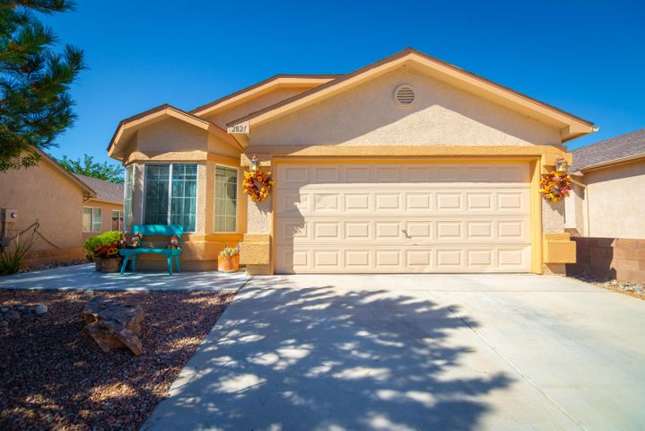 Beautiful One Story Home in Sagebrush at Huning Ranch!! This impeccable 1575 SF home has 3BR, 2BA 2CG, an office & so many updates!! Shows Like a Model!! Features are: BRAND NEW OWNED Solar Panels by Solar Works Energy installed July 2019.  Beautiful vinyl wood plank flooring throughout June 2019! New DW, Microwave (2017) New Gas Range (2019), Custom Paint Throughout June (2019), REF AIR! Newer Ceiling Fans and light fixtures less than 2 years old!! Home Warranty in place through 9-28-2024!! Ring Doorbell Stays!!  Nice Custom Backyard!!  Home is just about 5 minutes to I-25 and close to shopping.  The low HOA fee of $27 covers the common areas.  Hurry before it's gone!!