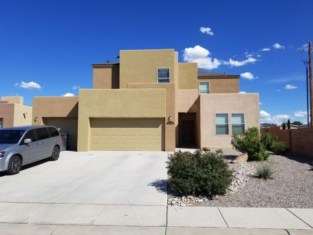 This gorgeous Morningstar home sits in a great neighborhood that is centrally located in the Albuquerque valley, making for an incredibly convenient commute to anywhere in the city!  With great curb appeal, it will draw you in to see what else this home has to offer! It has a wonderful open floor plan, perfect for entertaining! The kitchen is warn and welcoming and boasts granite counter tops, a gas range, a large pantry & plenty of cabinets for storage. It has a flex room that could be used any way you wish; an office or maybe a 4th bedroom!  The master suite features a walk-in closet, garden tub, separate shower, & his/hers sinks. The loft would be perfect as a second living area. There is a big backyard, a 3 car garage & it is only 5 years old!  Call me today for your private showing!