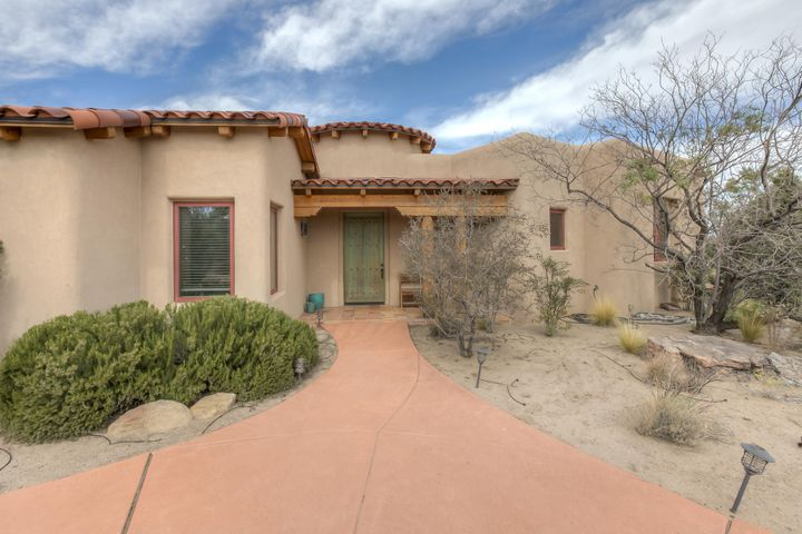 Enjoy the views of the Rio Grande, Bosque and Sandias! The Great Room has an exquisite vaulted beamed ceiling finished with Tennessee cedar tongue and groove. The two-way fireplace is shared with the dining area which has built in hutch and wet bar area. Parade of Homes Award Winning kitchen with Wolf gas range, prep sink, Subzero fridge/freezer and breakfast nook. The Master Suite is your oasis with fireplace, luxurious bath and walk in closet. Library with its tin ceiling has hand carved bookshelves and computer desk. Front entry has handmade saltillo tiles and a stained glass ceiling.  The other bedrooms and bath are in separate wing. Enjoy the four patios! The 1195 sq ft 3-bay garage is heated and has plenty of room for vehicles and toys. Gated community has walking trails to Bosque!