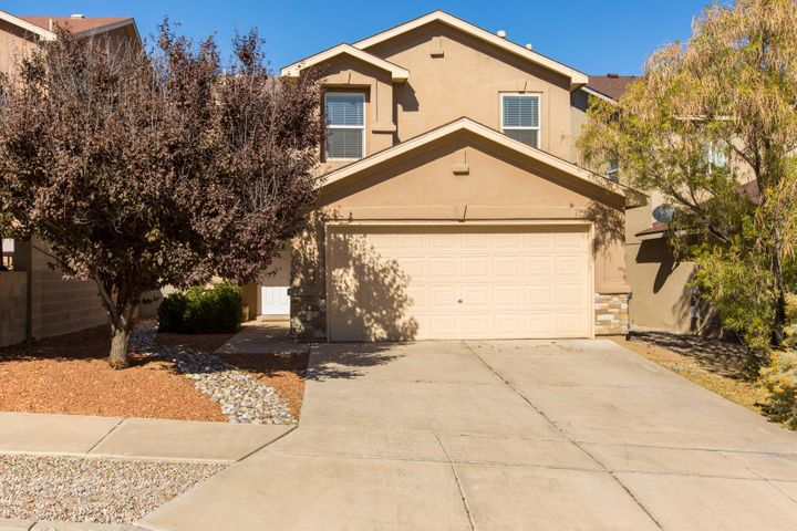 Well maintained home located near parks, entertainment, and restaurants.  This move in ready home has stone counter tops and an open floor plan that is welcoming for entertaining.  The back yard features an elevated deck with views of the Sandia Mountain and a storage shed for tools.