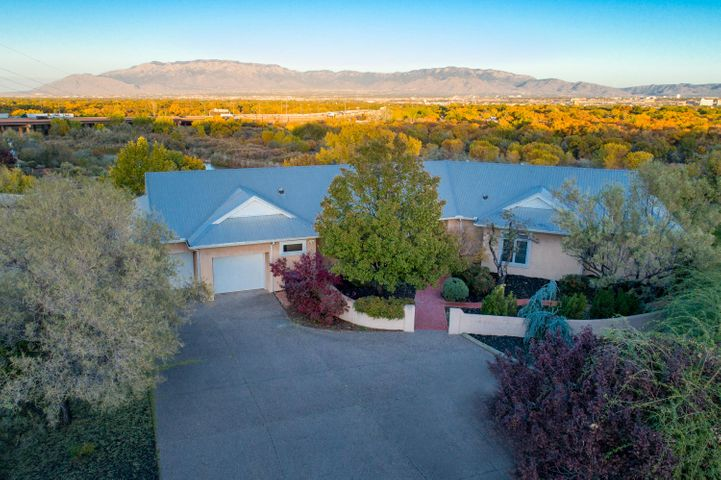 Stunning views of the city and the Rio Grande bosque from this beautiful Northern New Mexico style home.  Single story, metal pitched roof and a great floor plan.  Custom built with superior quality in every detail.  The large kitchen features lovely cabinetry, 5 burner gas cooktop, 2 ovens, kitchen island with butcher block top and a copper bar, & a walk in pantry . The great room offers a large dining area and living room with vaulted tongue and groove ceilings.  Built in entertainment center and built in bookcases/benches.   Master Bedroom has a very large walk in closet with built in chest of drawers & shelving.  Master Bathroom features a double vanity and a steam shower/bath. Each bedroom has it's own bath room.One bedroom has  a built-in Murphy bed. This home is a must see!