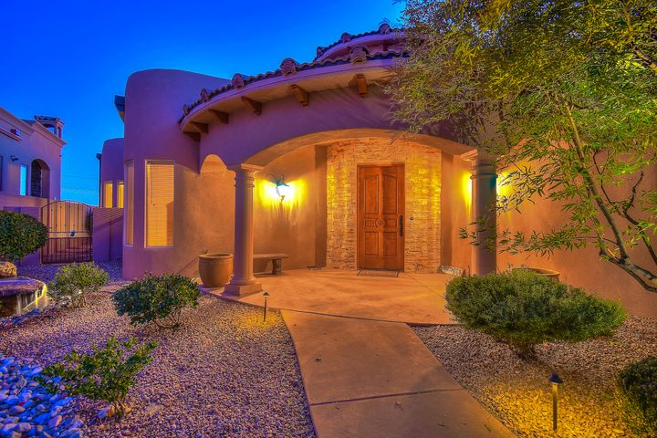 Beautiful custom home located in Ocotillo gated community, features many upscale amenities. Private entry patio, oversized finished 3 car garage, relaxing front & back yard water features, covered patio, cobblestone walk way, open floor plan, formal dining room, custom tile, chef's kitchen featuring oversized granite island, gunmetal stainless Wolf appliances, including subzero fridge, 600- bottle wine cellar, built-in island wine fridge & grand skylight you have to see to believe! Ceiling to floor windows w/ automatic window coverings capture fabulous mountain views, & back wall has been stubbed out for outdoor entertainment. Custom 10-12ft barrel ceilings, trey lighting and the elegant master suite w/ private fireplace & huge closet and MORE will make you feel like you're on vacation!