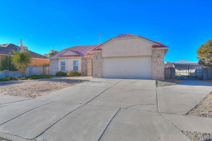 Lovely 3bd 2ba Home Located in the Echanted Hills Area of Rio Rancho!  This home has an eat in Kitchen with Stainless steel appliances, tile floors and beautiful white cabinets.  Outside is a large lot with backyard access, and a covered patio.  This Gem will not last long!