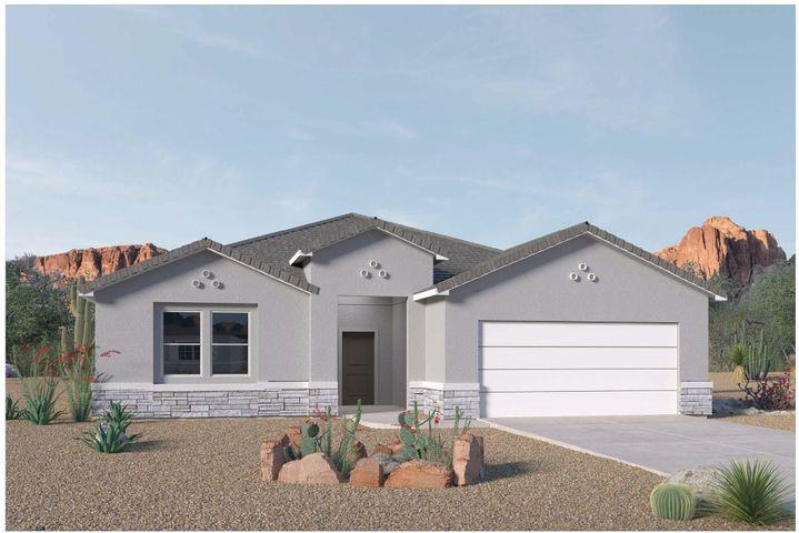 Imagine, living the good life in Mariposa, a 6,500 acre community with 2,300 acres of open space, nature trails, community center, indoor and outdoor pools, fitness center & parks. Mariposa is a community in Rio Rancho with extra large lots & space to breath! DR Horton is building this wonderful home featuring the luxuries of a custom home. A chef's delight kitchen with large granite island stainless Frigidaire appliances (gas cooktop & built in wall oven & microwave). Home has wood plank style ceramic tile throughout, except bedrooms. Home feels much bigger, light & bright with 8 ft doors and windows looking out to large covered patio. This is a SMART HOME and New Mexico Green Built Certified. Stop by model home to see furnished home with similar features. DR Horton PEAKS close out sale!