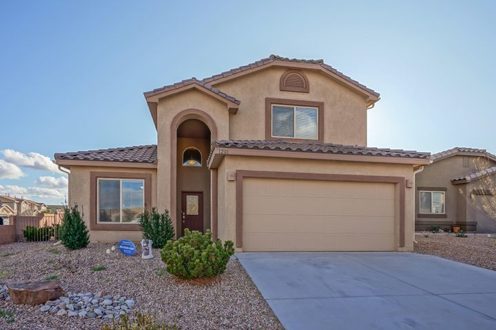Open House Saturday 12/14 1-3pm.  Tired of looking? Today's the day you've finally found your new home! This beautiful 3 bedroom/2.5 bathroom home is located in the highly desired Santiago area in Bernalillo on a corner lot. As you walk through your new home, you'll be welcomed by the high ceilings that help to bring so much natural light into your home. You'll notice that there are two living areas making entertaining a breeze! The kitchen offers a spacious eat-in area and newer stainless steel appliances. The master bedroom is downstairs giving you a private retreat. The other bedrooms are located on the second floor. BONUS! This home has OWNED solar panels which will save you money on energy bills! Don't miss out on this beautiful home.. make it yours TODAY!