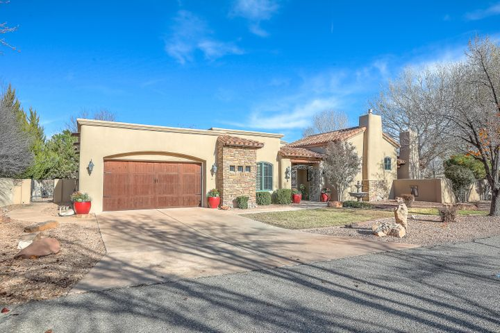 Award winning Builder. Old World & Mediterranean Mix in this open floor plan on one level. Cathedral ceiling w/exposed wood beams T&G planking hardwood floors plastered walls FP in the main living room. Kitchen with large island granite tops wine fridge new refrigerator. MB w/ Exposed wood beams & FP. A separate workout room w/large closet custom shelving safe will convey. Attached TV's will convey. Potential 2 master suites. Wood windows and exterior patio doors throughout. Workshop area in garage. 2 outdoor patio's. 1 that faces a grassy open space where geese and sandhill cranes stop to rest during their migration south and north. 2 outdoor fireplaces,grill, rock fountain, cantera columns washer dryer will convey. TV Cabinet and components do not convey.