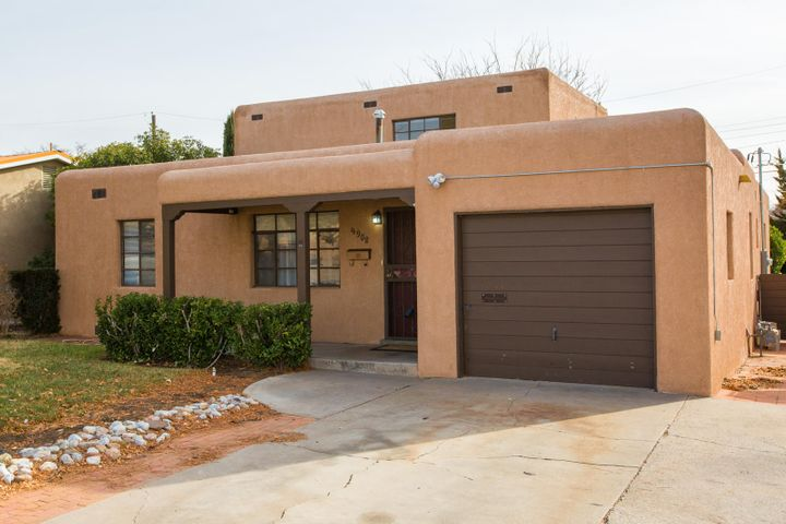 Plenty of room and versatility in this spacious house near Highland High School. Conveniently located close to UNM, Nob Hill, Uptown, the Base, Labs and more. Exquisitely refinished hardwood floors, fresh paint and fcarpet, upgraded backsplash and counters in kitchen, along with upgraded electrical and HVAC system - including refrigerated air - make this house an easy choice. Some features include two living areas, office space, custom brick  fireplace, private backyard, tons of natural light, great separation between the bedrooms and more. Upstairs could easily become a master suite by adding a bath. The possibilities are endless in this highly usable floorplan. Call today for your private showing.