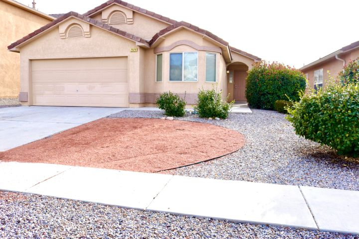 Quintessential Home in Cabezon, Rio Rancho.  very close proximity to A Park Above, trails, parks, shopping, cottonwood Mall, Intel, Rust Medical Center, you name it! 3 bedroom with bonus room off living area, well upgraded, tile roof, refrigerated air, natural lighting, and good size yard.  This home is ready for a new buyer.  Seller offering $5,000 flex cash for paint or closing costs, etc..  Hurry Hurry, Cabezon inventory is REALLY LOW! this will go quickly.  Brokers, see LOSO