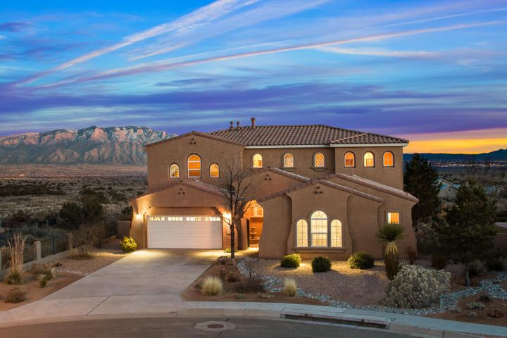 Incredible opportunity awaits a lucky buyer in Mariposa! Enjoy the ever-changing views of the Sandia Mountains, and the city lights from this elegantly appointed home backing on open space. Quality finishes such as variance plaster, high end appliances, furniture grade cabinetry, rich granite, intricate tile and wood floors, and elegant fixtures define this great home. Beautifully appointed backyard includes a water feature, fire pit and outdoor kitchen. No expense was spared in designing and building this home! Flexible floor plan offers 3 living areas, a detached casita, and 2 master suites in main house. Access to the community center featuring an indoor and outdoor pool and state of the art fitness facility is included in HOA Dues! Access miles of trails directly out your front door!