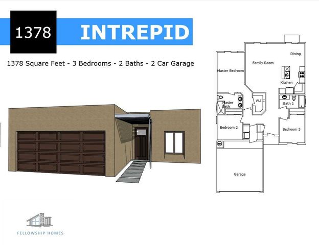 Fellowship Homes Popular 'Intrepid' Model with Open Floor Plan! This home is the Modern Feel you have been looking for with Soaring 9' Ceilings, EVP Flooring Throughout and Functional Layout for only 1378 sqft. Gourmet Kitchen with Shaker Cabinets, Granite Counter tops, Breakfast Bar and Walk-In Pantry. Beautiful Master Suite with Tile Shower, Double Vanity and Huge Closet. Granite Counter tops in both bathrooms. Plenty of Luxury features packed into this New Home: Refrigerated Air, Blown-In Insulation, Low-E Windows, Energy Efficient Furnace and more. ** Home is Under-Construction - Photos are of a similar model that was Completed**