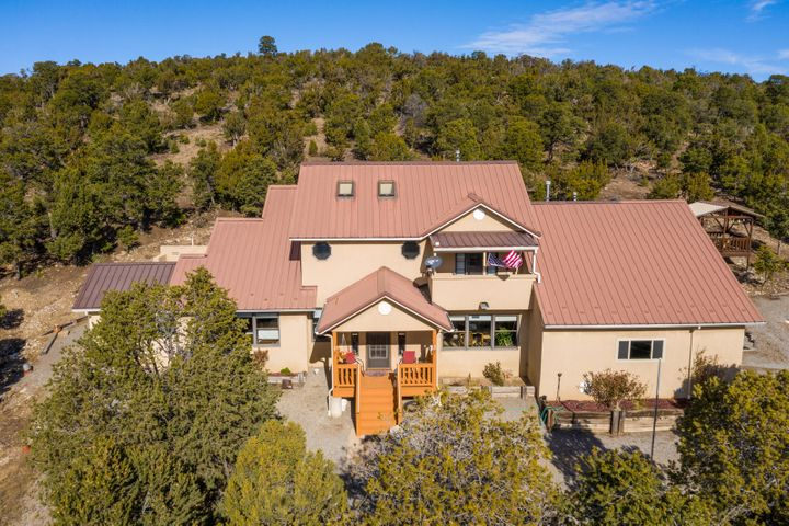 Beautifully designed mountain retreat on 2.4 acres tucked away in the Sandias! Meticulously cared for and maintained by original owner/builder. You'll absolutely love the peaceful and serene setting! Breathtaking Views of the mountains and ski runs. The home features an open and light filled floorplan, wood floors, tempered glass skylights and a large walk-in kitchen pantry w/food prep area, storage and shelving for cookbooks! Kitchen opens to inviting den with wood stove and double doors leading out to covered patio. Master bedroom suite on main level with large walk-in closet, jetted tub, separate shower, double sinks and adjoining sitting area. **830 SF Dream Workshop! **Insulated, furnace & wood stove, 1 car garage, office & 1/2 bath!plus additional storage building.