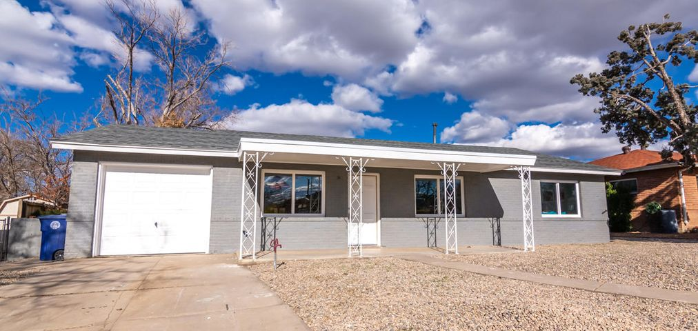 Come see this newly remodeled 3 bed 2 bath home in the heart of NE Albuquerque! Home has a beautifully flowing floorplan with dining room that opens up to the family room.  and features fresh paint, flooring throughout, stainless steel appliances, new water heater, landscape, and the list goes on! You will not want to miss the opportunity to call this home!! Seller willing to include fridge with an acceptable offer (upon request)