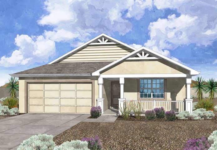 Westway Homes Introduces the Ruby in De La Reina! This is Belen's newest community and offers 5 great floor plans to accommodate all needs. The Ruby is a 4 bedroom, 2 bath, open floor plan. The living area is all tile and the kitchen features granite counter tops and GE appliances. The baths include tile on the floors and tile surround in the tub/shower with granite counter tops. Come be a part of Belen's newest community.
