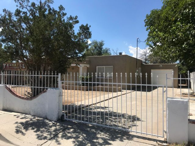 Newly remodeled home featuring new Windows,New stucco,Refrigerated air,Hardwood floors,Tile,Water heater,Appliances in kitchen,Privacy wrought Iron and gates for security,possible backyard access.All this and nice park and community center next door.Home is ready for its new owner!