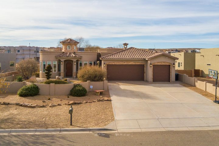 Welcome to this 1-Owner, Single-Story, Thoughtfully Designed Custom Home in Rio Rancho! Situated on a Large Half-Acre Lot with Stunning Views of the Sandias, 2307 18th Street Southeast offers 4 Bedrooms plus an Optional 5th Bedroom or Study/Office. Enter through the Courtyard, open the African Mahogany Door to this Impressive Estate and you're greeted by a Venetian Plaster Entry with Waterfall Feature and Sky Painted in Turret. Your Kitchen is Complete with Granite Counters, Stainless KitchenAid Appliances, 5-Burner Gas Range w/ Pot Filler, Commercial-Grade Range Hood, Double Oven, and 2 Pantries w/ Plenty of Storage. The Great Room features a Remote-Control Napoleon Fireplace w/ Custom Mantel and Flagstone Accent, Floating Shelves, and Access to Patio/Backyard.
