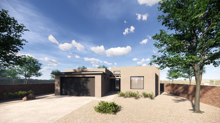 A hidden gem in the North Valley!!   Proposed construction in a quaint, gated cottonwood-speckled neighborhood close to the heart of the North Valley yet quick access to freeways and views of the Sandias.  One story, three bedrooms and two baths with an open floor plan and high ceilings.  Boasts custom finishes that can be tailored to your taste with standard finishes that include granite counter tops, stianless steel appliances, custom cabinetry,  large pantry, spacious master suite with walk in closet topped off with the NM Green Build Silver certification for energy efficiency.  This is a great opportunity to have a wonderful home in a superb location.