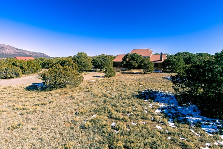 Peaceful, serene, private! This beautiful Northern New Mexico style home located on 4.99 wooded acres is filled with natural light and views from every angle! The first floor features brick flooring, an open living area with vaulted ceilings and cozy Quadra Fire wood burning stove, 2nd master suite, guest bedroom and bathroom, as well as the kitchen/dining area and large laundry room. The second floor master suite features 2 large walk-in closets, view deck and en-suite bath with jetted tub and separate shower. The workshop, connected to the 2 car garage, has its own wood burning stove, attic access and entrance. Large open patio with gas stub out, garden area, storage shed; property is fenced and gated. Inspections/repairs completed recently, and all appliances convey. Welcome home!