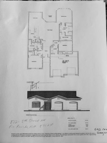 Home is currently under construction.  SeeFloor Plan attached.  Custom 3 Bedroom/2 Bath Home with views of Sandias sitting on 1/2 acre with back yard access!  Featuring open floor plan, spacious kitchen oopens o dining and great room.  Kitchen has island and pantry, ceramic tile and stainless steel appliances.  Great room has raised ceiling.  Master suite has separate tub and shower and walk-in closet.  Over-sized 2-car garage (643 S.F.) 2x6 construction, covered patio.