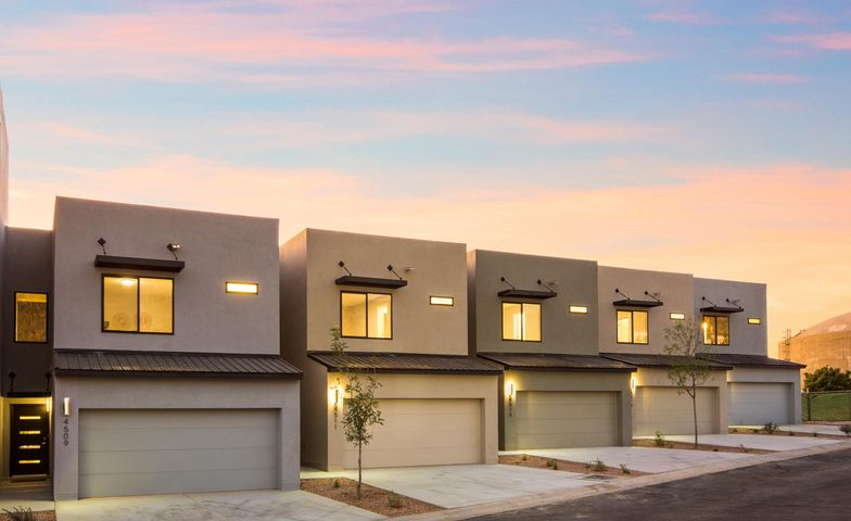 Only two left and both are available for immediate occupancy! ! Just when you thought you could not find affordable new construction in the NE Heights! Introducing Villa Loma TownHomes! Each two story home is a little over 1,600 square feet with three bedrooms and two and a half baths with an open floor plan. Each home boasts the NM Green Build certification so you can depend on an energy efficient foot print. A fantastic location in the NE Heights close to schools, shopping, dining and the foothills hiking trails. Quality construction from a trusted name in new homes. With a contemporary feel they have nine foot ceilings, LED recessed canned lighting, stainless steel appliance package, granite countertops throughout the home, LVT flooring with lots of light.