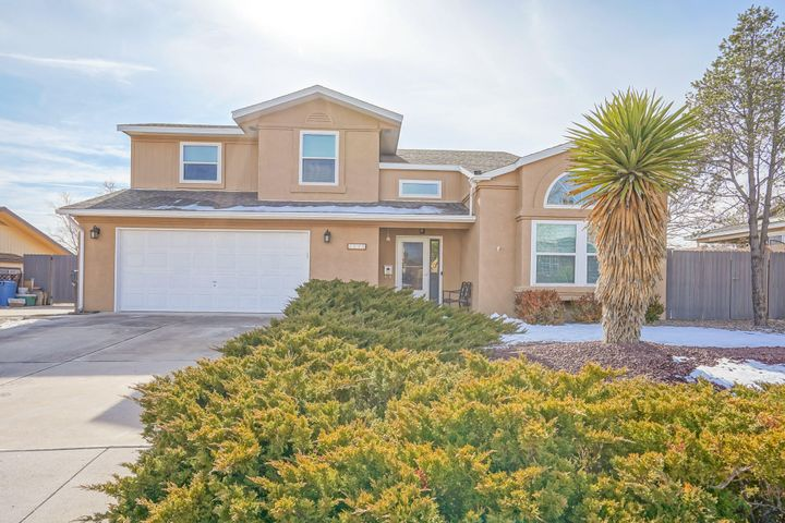Beautiful maintained home with many updates throughout.  Improvements include, new paint, windows, remodeled master bath, furnace, AC, large shed, RV pad, patio and pergola, stainless steel appliances, water softener, new water heater.  Home is MOVE IN READY!!! Perfect home to enjoy Balloon Fiesta!  Inspections have been completed, and repairs are being made.