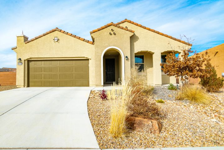 Great home located in the Del Webb Mirehaven 55+ Community now available!  This 1678SF home sits on a nice .26ac lot which has a private backyard and lovely views of the Petroglyph National Monument as well as some Mountain Views! Home features 2 BR's, 2 BA's, 2 CG, gas log fireplace, beautiful kitchen island open to living room, fully landscaped and easy maintenance front and backyard, covered patio, ceiling fans, REF AIR, tank-less WH, 9ft ceilings, 2X6 Construction.  Roof and Structural warranties in effect and are transferable! Enjoy the award winning Amenity Center which has daily activities, huge gym, outdoor saltwater pool, tennis, pickle ball and so much more!!