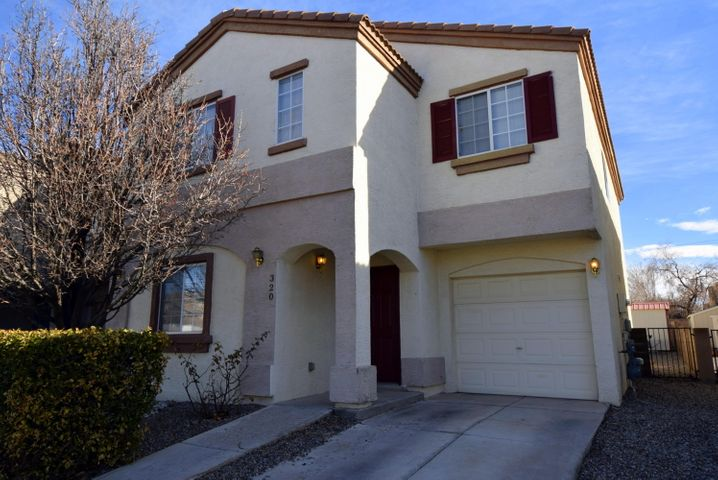 Beautiful home in a gated community! Conveniently located near Kirtland AFB and Sandia National Labs. Nearby shopping and restaurants and easy access to I-40 & Central. 4 bedroom, 3 full bathroom floorplan features an oversized master suite complete with 11'x9' sitting room and oversized garden tub. Downstairs bedroom and remodeled full bath double as a second master. Laminate wood floors & tile throughout the first floor. Brand new carpet in downstairs bedroom, on stairs, and upstairs. Open kitchen w/stainless steel appliances, breakfast nook, living room fireplace and built-in bookshelves complete this home. The spacious backyard offers extra storage space and lovely morning & evening views of the Sandias. Other amenities include the private community park & walking trails!