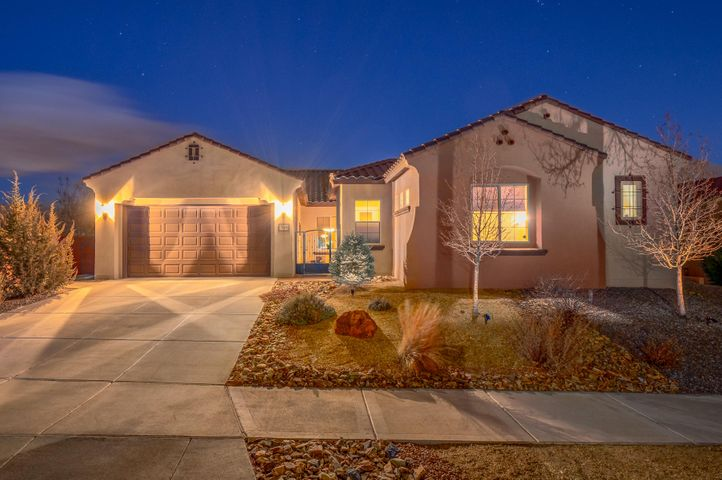 **OPEN HOUSE SUNDAY 1/26/2020 FROM 2:00PM-4:00PM** Come and enjoy the beauty and security of one of Rio Rancho's premier gated communities, Tres Colinas in Loma Colorado. This lovingly maintained home boasts stunning, unobstructed views of the Sandia Mountains, a private, oasis-like backyard and a separate guest suite with private entrance. Kitchen with stainless steel appliance package features granite counter tops, cabinets with pull-outs, and generous pantry. Master bedroom with walk-in closet, separate shower, and double sinks, has its own private patio entrance and looks out onto the beautiful back yard and mountain views. Come see your new home today!