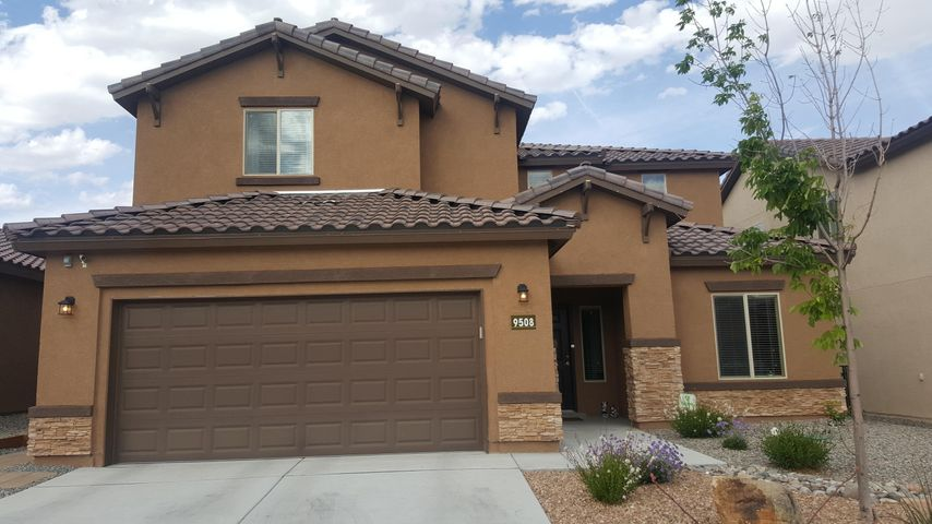 This single story 4 bed, 3.25 bath, 3 car is a Pulte Sapphire model in great shape with tons of extras!  There is granite in the kitchen and all bathrooms, refrigerated air, tankless hot water, upgraded stainless appliances, wrought iron staircase, jack&jill bath, oversized walk-in shower in master, fully landscaped backyard with sprinkers/drip system, covered patio, tile roof, hardwired surround sound, wireless alarm system paid through August, hardwired satellite hookup, under eave outlets for holiday lights, dedicated outlet in garage for freezer/equipment and Taexx Pest Defense System.  There is elegant tile work throughout.  The living areas have soaring ceilings with high windows combined with an open floorplan that is warm and inviting.  This home is super well kept and beautiful!