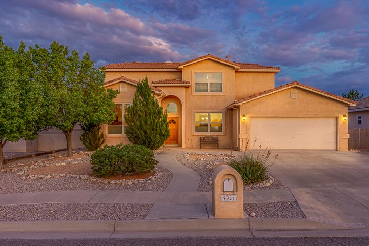 This lovingly maintained Crest home is located in the highly desired neighborhood of Stonehenge, in the heart of Rio Rancho. As you enter you are welcomed by separate living and dining rooms which could also serve as office, game room, or playroom. The spacious great room with gas log fireplace is ideal for entertaining friends & family and opens to the eat-in kitchen featuring quartz countertops and glass tile backsplash. Retire to the comfort and seclusion of the well-proportioned upstairs bedrooms. The master bedroom features a spacious balcony overlooking the HUGE park-like backyard with access for your extra vehicle or RV.  The pride of home ownership and the joy of entertaining, or just enjoying your down time, awaits!