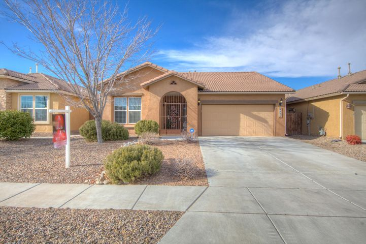 Stunning, Pristine and Move In Ready! Come see this lovely one level 3 bedroom 2 bath home in , Rio Rancho's up and coming Enchanted Hills neighborhood. It is the perfect size home. Tile floors, granite counter tops and stainless steel appliances. Kitchen Island has breakfast bar and the dining room is picture perfect. Master suite has over sized closet, double sinks, and tons of storage. Main living areas are comfortable with natural lighting.Walk out front door and see view of Sandia Mountains. Landscaping is low to no maintenance. Schedule a showing today .2 minutes away from popular new shopping district in Rio Rancho.
