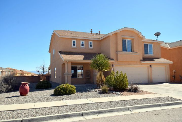 New to Market!  Open Sun 2 to 4! Lovely Executive Style, spacious home at coveted Buena Vista by Pulte, on premium lot with covered porch! Just 20 minutes to Albuquerque! Value blends with functionality.  Exceptional lot, on a sweeping corner, sits higher than homes behind with eastern facing back yard and distant mountain views.  One bedroom and 3/4 bath down.  Wonderful open concept kitchen adjoins family room, with beautiful wood floors & fireplace.  Spacious 2nd floor with loft, VIEWS and 3 pleasant bedrooms including Master w/ en suite and more views. Delightful covered patio out back with tranquil fountain. Phenomenal location just minutes to great shopping, pathways, High School, restaurants, Starbucks and I 25.  A GREAT opportunity! Minimal HOA.