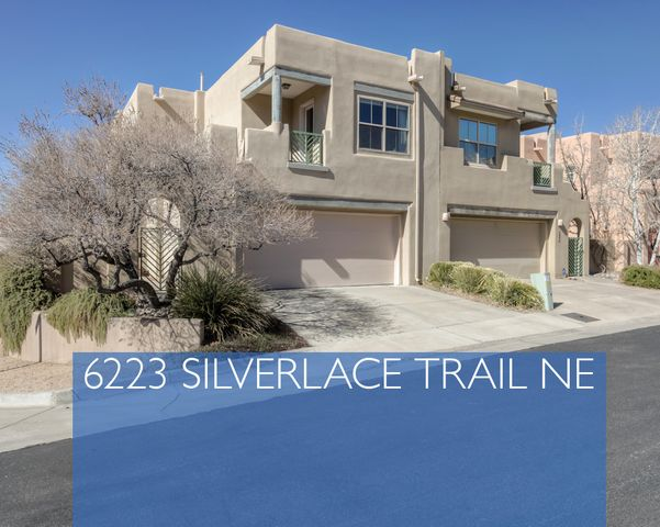 Lovely custom built 3 BR, 3 BA in High Desert gated community. Amazing city & mountain views. Courtyard entryway leads to the open concept Living & Dining areas with soaring ceilings & lots of windows filling the home with light. The adjoining Kitchen has quartz counters, breakfast bar & pantry-all appliances included. New roof - 4/19; new hot water heater & designer paint colors-2018; new windows & stucco-2016. Lots of built-in storage. Convenient 3rd BR & 3/4 BA downstairs. Upstairs boasts a large master suite w/2 closets. Master BA has spa tub, separate shower & a private commode. Built-in closet system in 2nd bedroom. Upstairs bedrooms open to balconies. Plus an Office nook upstairs. Easy maintenance yard. 2 car garage. Near High Desert Park & Open Spaces with biking & walking trails.