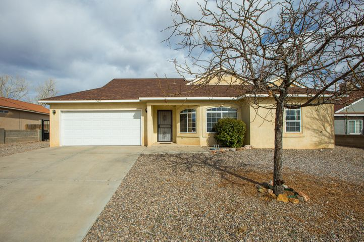 Charming Amrep home located in the Enchanted Hills community of Rio Rancho! Home hosts 1,371sf with 3 bedrooms, 2 bathrooms and a 2 car garage.Home upgraded with laminate wood floors throughout the main living areas. Great kitchen space with ample cabinet and countertop space, upgraded stainless steel appliances and open to the dining area. Perfect for entertaining. Spacious living area with outside access. Master suite with private bath and two additional guest rooms. Great backyard with stunning mountain views, a covered patio and storage shed. Close to schools, parks and shopping in a well established neighborhood.