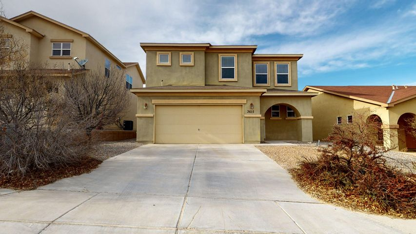 This excellent home is located in a quite Rio Rancho neighborhood!  It has an excellent, open floorplan that would be perfect for gatherings.  It has a huge kitchen that features plenty of cabinets & counter space, a large pantry, gas stove, & a dine-at bar. There's an office downstairs & a loft upstairs that makes for a great 2nd living area! The loft is wired for a projector & the projection screen conveys! The master suite is fantastic, boasting his & hers closets, a balcony, a nice master shower & a separate garden tub with a tile surround! Coming into the warm season, the refrigerated air in this house will keep you cool! The rooms are large, there's an awesome park nearby, & it's located in the Cleveland High School district, one of the best public high schools in the state!