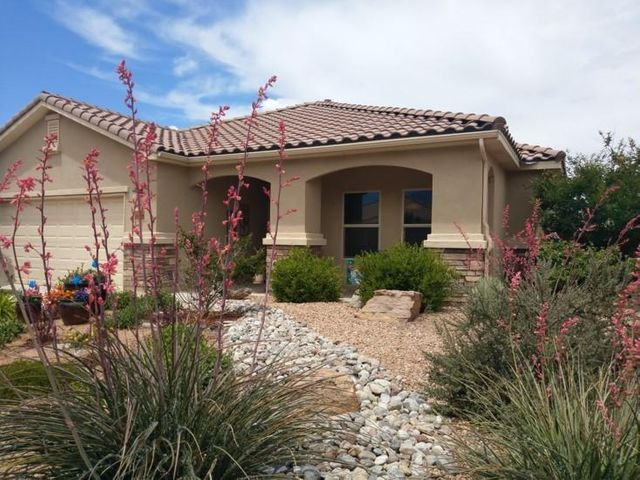 Here is your opportunity to own this beautiful home in the 55+ Community of Del Webb Alegria! This ''TAOS' floorplan offers 2156 sf, Gourmet Kitchen with granite countertops, tile splash, pantry, SS  appliances, Nice Sandia Mountains/Open Space Views, 2BR's, Study, 2.5Baths, Dining Room and 2CG. Features include gas log fireplace,  5 speaker surround, 20 X 20 floor tiles, carpet in both bedrooms only, Micropure Soft Water System, Reverse Osmosis at Kitchen sink, Walk in Closets, skylights, New Water Heater (2 Months),  Upgraded HVAC system with programmable thermostat and Merv10 Hepa Filter,  TV/cable conduits in Great Room and Master BR.  Private Backyard with raised flower bed and pottery fountain.  Gas Stub out for BBQ! Enjoy the Clubhouse..pools..gym..daily activities! So Much More!!