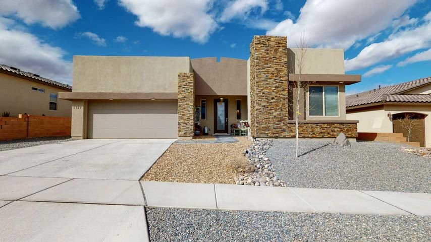 Beautiful Hakes Brothers contemporary Home, less than a year old,  4 bedroom with Flex Room/Office & 2.75 bath, in Lomas Encantadas.  Gourmet kitchen including  gas Cook top w/ convection wall oven & microwave, granite countertops , Wood tile, pantry, recessed lighting & accented tile Island.  Traditional fireplace, upgraded 8' doors, NM green built, w/ lighted niches throughout. Bright Master Bedroom w/ tray ceilings, clerestory windows, ceiling fan & and large picture windows.  Master Bath includes water closet, enormous walk in closet with built-in shelving, shiplap accent wall, dual vanity & walk in shower w/ Rain shower head.  Office w/ stylized wood flooring & battan accent wall.