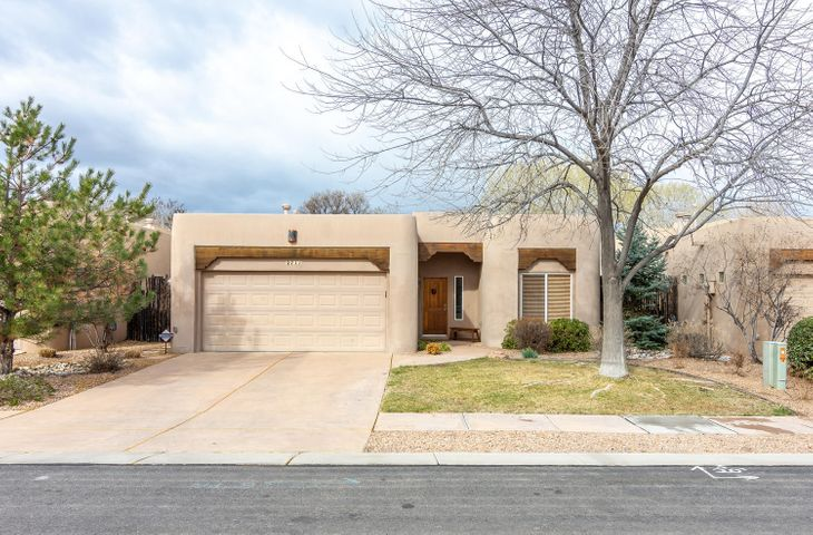 Come home to this meticulously maintained one owner home in the exquisite neighborhood of Calle Tranquilo.  Look no further for a quality living experience w/a gourmet kitchen for entertaining, open airy floor plan w/3 bedrooms & 2 full bathrooms. Amenities include granite counter tops, both forced air & radiant heat & refrigerated air, formal dining & kitchen eating nook or sitting area.This hidden away, private gated community has access to the acequia, proximity to the Bosque, Nature Center, Rio Grande River & miles of walking & bike paths.Located on the west side of Rio Grande Blvd in a tranquil, peaceful setting enjoy your morning coffee on the covered patio amid the Trumpet Vines, fruit trees & so much more.HOA dues of $350 a quarter includes the gate maintenance & front landscaping.