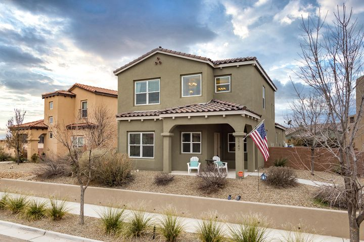 Spectacular Raylee built 3 bedroom 2.5 bath home w fresh paint in the fast growing neighborhood of Mesa Del Sol. Nicely updated kitchens & baths all with granite countertops & tile flooring. Open kitchen has granite counters, tall upper cabinets w crown molding & a large walkin pantry. There's plenty of recessed lighting, tile backsplash, stainless steel appliances & a 5 burner gas stove.  The high kitchen bar opens up to the living room space with tile flooring.  Upstairs you find 3 bedroom, all w plenty of closet space for all your storage needs. The master BR has a large walk in closet, windows that face the mountains & a stunning oversized master bath w a garden tub & separate tiled shower. Tankless water heater & easy to maintain yard space. HOA incl. access to community pool