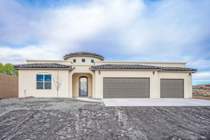 Be the 1st owner of this new custom home. Built on a half acre lot with Sandia views and a 3-car garage, it has an entry tower, an interior tower, and 10 ft. raised ceilings adding light and space to the interior. There are 3 bedrooms w/9 ft. ceilings and a flex room that can become your 4th bedroom, office, study, etc. The Master Suite has a separate tub and shower w/custom doors & a large walk-in closet. There is a full guest bath plus a 3/4 bath and an interior laundry room, w/mop sink. Enjoy your kitchen and dining area which also includes an island.  Relax in peace while admiring the flame of the built in electric fireplace. You will love the well-designed space, custom touches and ceiling fans. Enjoy hours of outdoor living on your rear covered porch, or indoor A/C & heat combo unit.