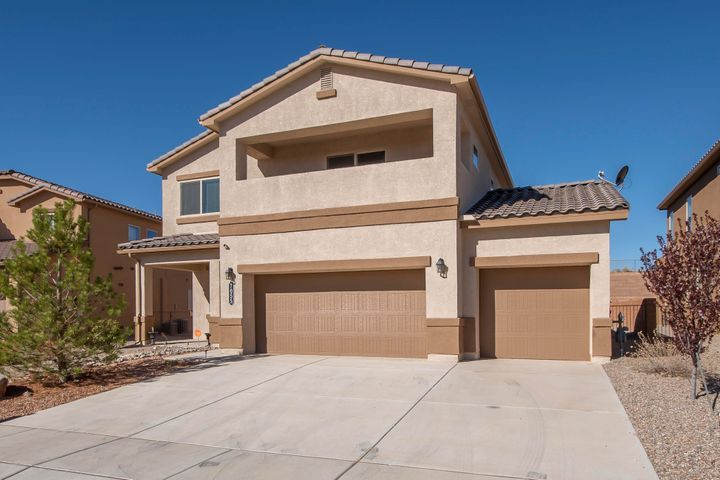 Move-in ready!  We're pleased to be offering this close-to-new, lovely DR Horton home, in sought after Lomas Encantadas Subdv.  Lower level features an open kitchen/living area boasting lovely dark stained cabinetry, SS appliances, eat-at island, granite countertops, large pantry, formal dining, front office and 1/2 bath, just off the 3 car garage.  Upper level boasted a comfortable 2nd living/media/recreation area, just off the bedrooms.   The oversized owners ensuite is it's own private retreat!  and offers world class views from the covered deck.  There's room for the king sized bed and additional furnishings to meet your needs (desk, exercise, lounge, etc).  Laundry room is perfectly located between the bedrooms.  Large high quality storage shed in back.  EZ access to all conveniences.