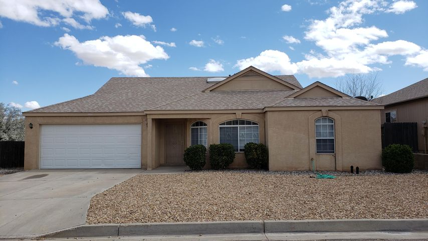 Come see this home in the North Hills Subdivision of Rio Rancho.  Corner Lot on quiet cul-de-sac, large fenced in yard with covered patio, 3 bedrooms, 2 baths, 2 car garage.  Cathedral Cieilings, skylights, breakfast nook, and open kitchen.  Master bedroom has double sinks and large shower.  New roof installed in 2018 with 10 year warranty.  Others upgrades made between 2016 - 2019 include, new tile including bathrooms, new carpet in bedrooms, and new range in kitchen and many more.  Home has automatic sprinklers as well.