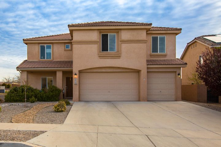 There is tons of natural light in this 5 bedroom, 3 full bath, 3 car garage home in the gated community of Corazon in Cabezon! The first floor features tall ceilings throughout and has a formal dining area, a huge eat-in kitchen with an island, tons of counter space and looks directly into the living room.  The first level also has one bedroom & full bath. On the 2nd level, the master suite features an oversize bedroom and bathroom with soaker tub, separate shower, double sinks and a huge walk-in closet.  There is a large loft room and 3 bedrooms, all with walk-in closets and another full bath.  The oversize backyard with patio is great for entertaining and activities. There is also great access to the Cabezon Linear Park, as well as close proximity to schools, restaurants & stores.