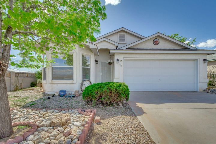 Come see this Rio Rancho single level beauty.  Tile throughout the home. No carpet.  The roof and evaporative cooler was replaced in 2018. There is an inviting,  beautiful wood burning Kiva fireplace in the greatroom.  The home has Vivnt Solar which is leased.