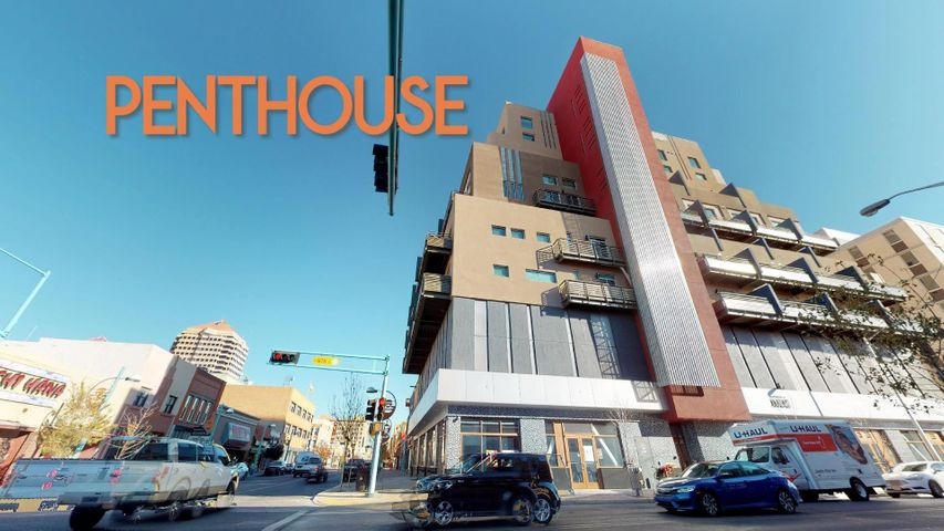 Unique opportunity to own or rent a Penthouse in Downtown Albuquerque with amazing views! The Anasazi building on the corner of Central and 6th is a modern contemporary building with innovative design. This penthouse has a unique loft design that takes advantage of views from both levels. This is the largest of the penthouses. It features a large master bedroom/living area and has amazing views of the city and the West Mesa. This unit is also available for lease.